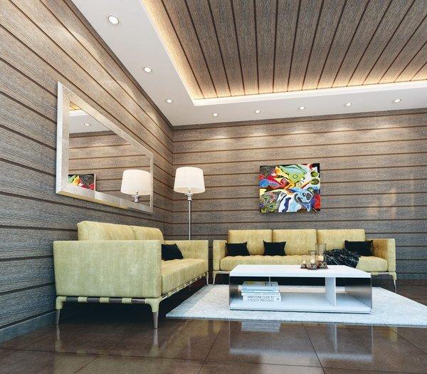 стеновые панели из МДФ – можно крепить на специальный клей прямо к бетонным стенам или же на собранный каркас, не требуют покраски, но их стоимость довольно высокая