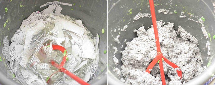 В зависимости от степени измельчения бумаги получается разная фактура поверхности